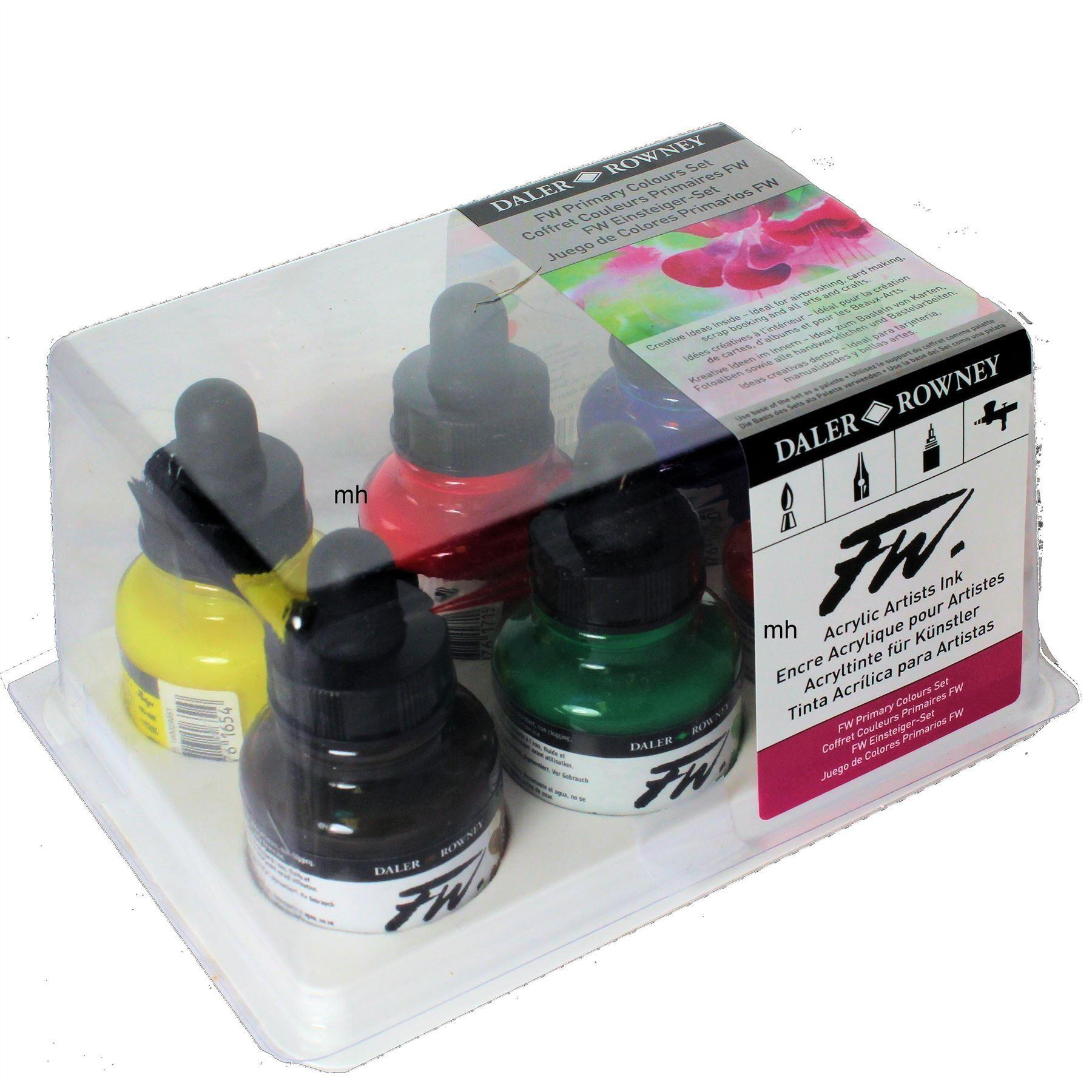 Daler Rowney FW Acrylic Ink Primary Colour Set of 6